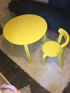 Children s Wood Table and Chair