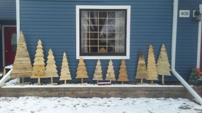 Rustic Wooden Christmas Trees $5 to $15 ea