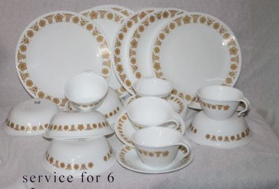 butterfly gold Dinnerware setting for 8 plus additional serving pieces