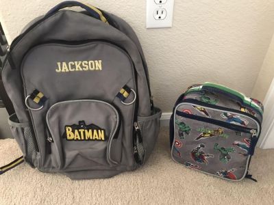 Pottery Barn Backpack and Lunchbox monogrammed to Jackson