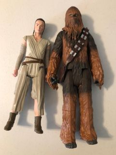 Rey & Chewbacca action figures (Barbie doll size)