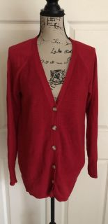 Faded Glory Women s V-Neck Red Knit Button Down Cardigan Sweater Size Large