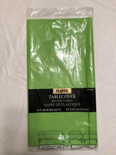Lime green plastic table cover - brand new!