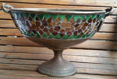 Vintage Iron/Copper Oval Bowl