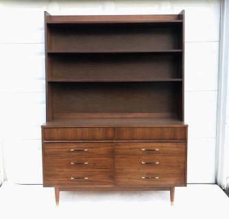 Mid-Century Modern Dresser With Bookcase