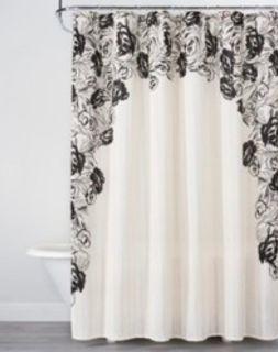 Black Floral & White Shower Curtain