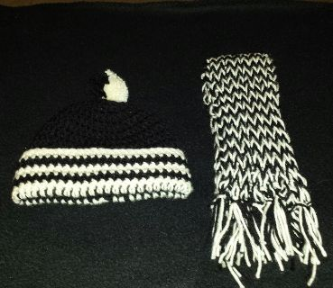 Child's Winter Hand Crocheted Pom Pom Cap And Scarf Sets - See Description