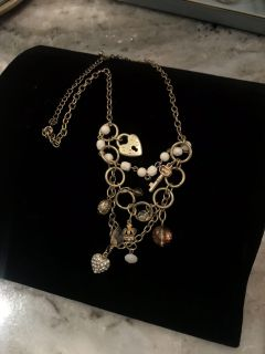 Gold charm necklace costume jewelry