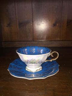 Beautiful Iridescent bluish green tea cup and saucer from Japan. Perfect condition