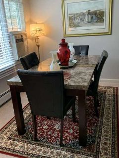 5pc Marble Dining Table Set