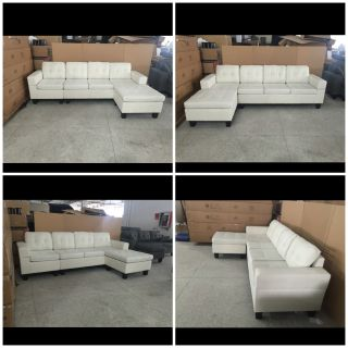 """Brand New 4 seater Cream white European style lounge sofa with reversible chaise 99""""w x50""""(chaise) x 33""""t x31""""d - FREE DELIVERY"""