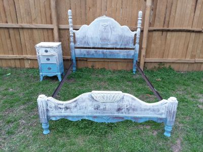 Refinished solid wood boho style full size bed and nightstand