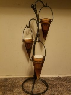 Wrought Iron Candle Stand with Glass Votive Cups