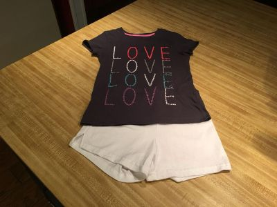 Real cute soft cotton shorts set - shorts have split hem and elastic waist GrayTee has glittery letters