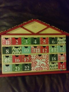 large christmas calendar countdown house. little drawers for days of christmas. needs some sticks on roof could be a cute project. nwt