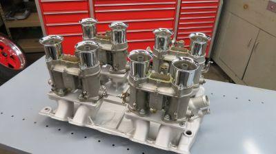 Oldsmobile Moon Intake Manifold With 4 Weber Carburetors