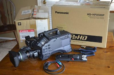 Panasonic AG-HPX-500 Camera with PROGRAMMABLE Canon 2x Extender lens   $4000