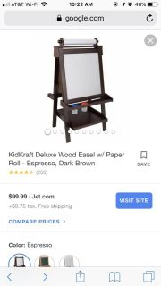 Easel, new rolls of Melissa and Doug easel paper, and kid paint/art clean mat
