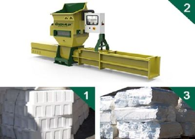 Styrofoam recycling with GREENMAX APOLO C100 compactor
