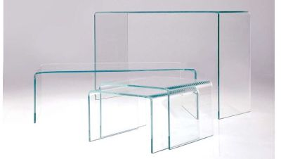 Glass coffee table, 1 side table and sofa table