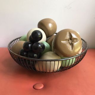 Vintage Wooden Fruit and silver plated bowl Wm Rogers Italy