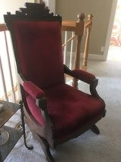 Antique velvet chair w intricate woodwork