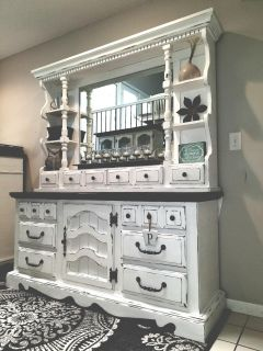 Solid wood refinished farmhouse 13 drawer dresser with mirror