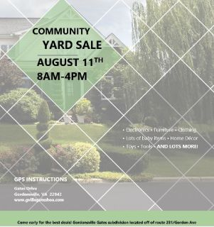 Gordonsville Gates Community Yard Sale - Saturday, August 11th