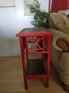 Red Bamboo End Table