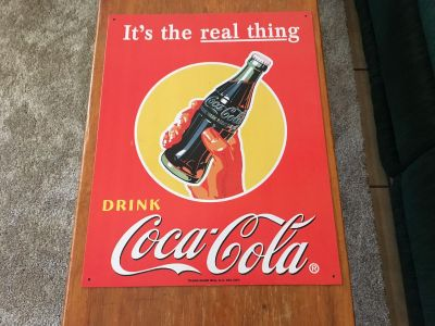 It s the real thing DRINK Coca-Cola metal sign.