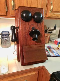 Reproduction vintage telephone wall cabinet shelf 2 pictures