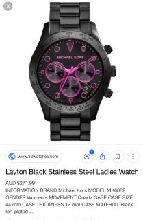 Woman s black and pink Micheal lots watch