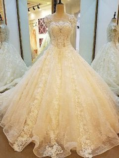 Lillian's Lace Princess A Line Wedding Gown