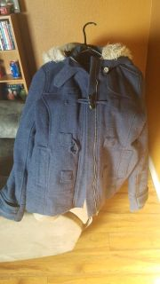 Blue maurices coat with hood super warm