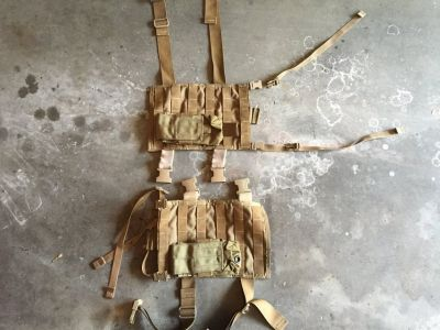 2 Drop Leg Molle Panels with Magazine Pouch.