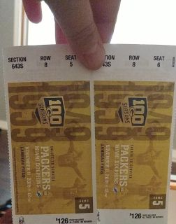 Packers tickets (Nov 11th at noon)