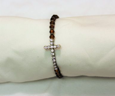 NWOT Amber Orange Cross Gem Gold Silver Tone Boho Bead Chain Bracelet Statement