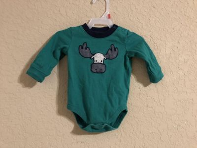 Gymboree Baby Green Adorable Long Sleeve Shirt Onesie. Nice Condition. Size 3-6 Months