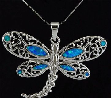 New - Blue Fire Opal Dragonfly Necklace