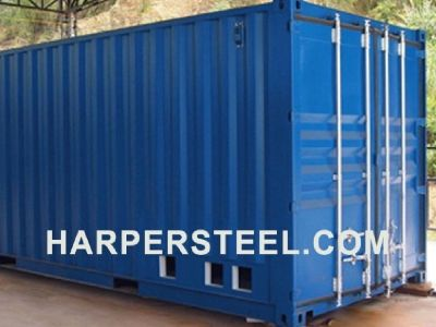 Tall Steel Shipping containers at Harper Steel Inc