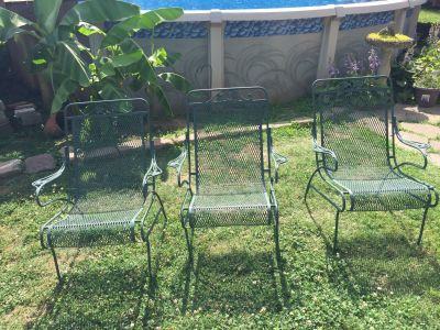 Three Wrought Iron Chairs and two unique lounger extensions