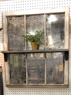 Antiqued Repurposed Window w/Shelf