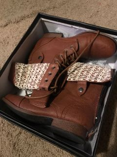 Brown Lace-Fold Boots