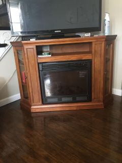 Wooden Corner Fireplace TV Stand Console 48 !