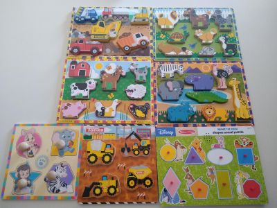 Melissa and Doug. 7 toddler chunky wood puzzles