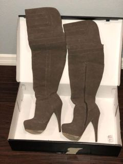 Taupe Boots Over the Knee - JustFab Size 7.5
