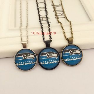 SEATTLE SEAHAWKS Glass Cabochon Pendant / Necklace (traditional logo) *** NEW ***