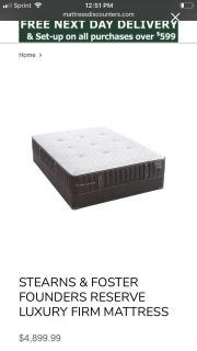 A Year & Half Old- King Size- STEARNS & FOSTER FOUNDERS RESERVE LUXURY FIRM MATTRESS WITH BOX SPRINGS