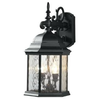 9.5 in. 2-Light Bronze LED Water Glass Outdoor Lantern