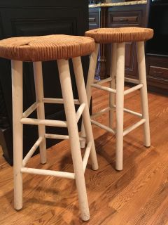 Set of 2 Wicker Round Top Barstools, Too Cute!